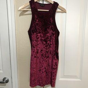 Dark red velvet mini body con dress from TopShop